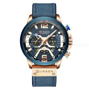 Curren Mens Watch Business Chronograph Quartz Watch Luxury Leather Sport Waterproof Wristwatch 8329