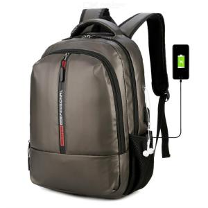 Men's Business Backpack Fashionable Water-Repellent Backpack With USB Charging Port Earphone Hole Fits 15.6'' Notebook