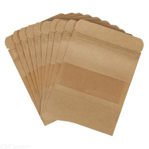 100Pcs Coffee Seeds Sweets Ziplock Seal Kraft Paper Bag, Window Stand Up Sealable Pouch