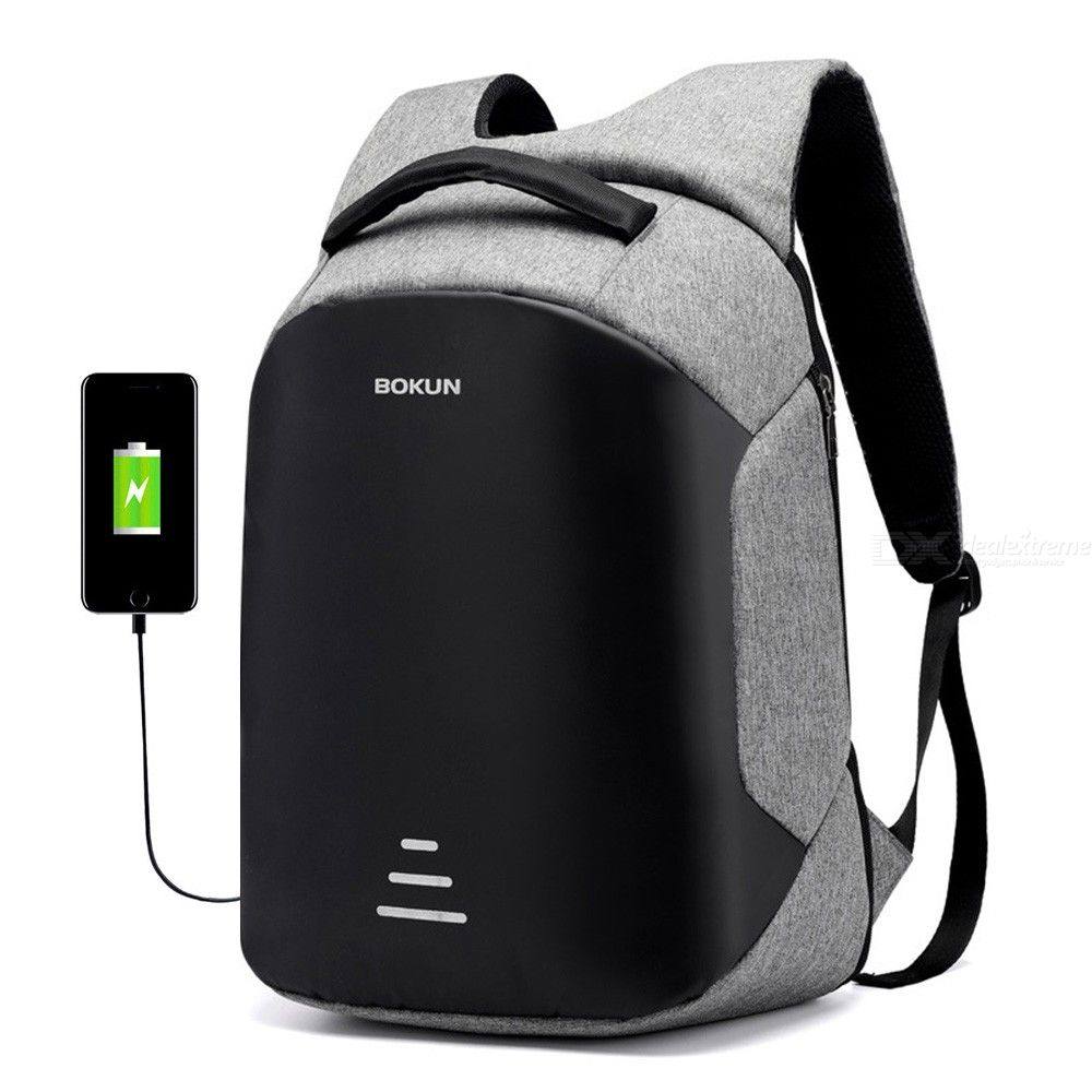 Men's Business Backpack Anti-theft Laptop Backpack With USB Charging Port Reflective Stripe