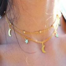 Retro Layered Necklace Fashion Simple Jewelry With Star And Moon Sequins Pattern For Women Ladies