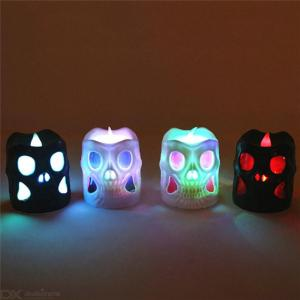 LED Skull Night Light Flameless Fake Candle Lamp Battery Operated Lights Halloween Party Decoration