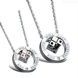 Creative Titanium Steel Pendant Necklaces Fashion Exquisite Jewelry With Dice Pattern For Lovers