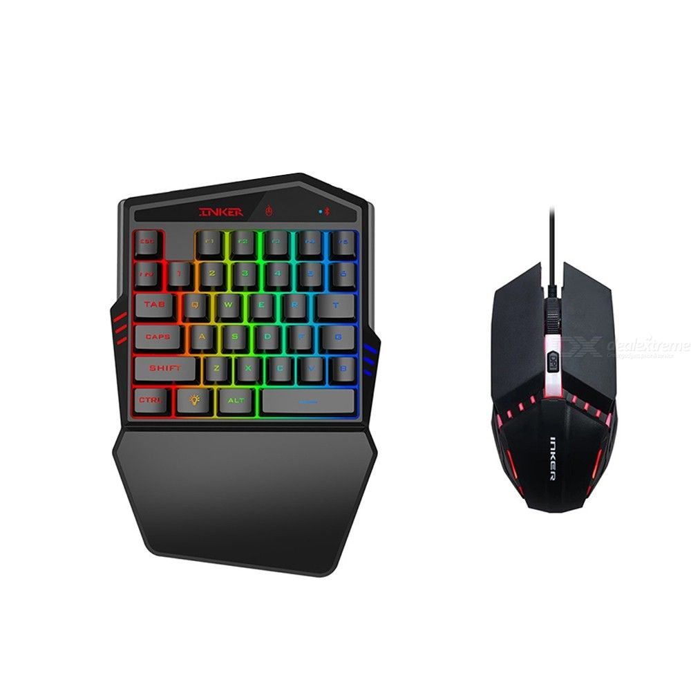 K99 Ergonomic Keyboard And Mouse Combo One-handed Bluetooth Game Keyboard Wired Mouse Set 35 Keys With RGB Backlit - Black