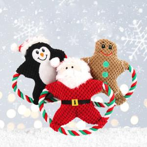 Dog Stuffed Toys Cotton Rope Christmas Squeaky Toys For Small Medium-Sized Dogs
