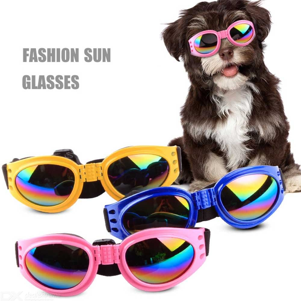 Foldable Dog Sunglasses Windproof UV Protection Goggles Cool Pet Glasses With Adjustable Straps