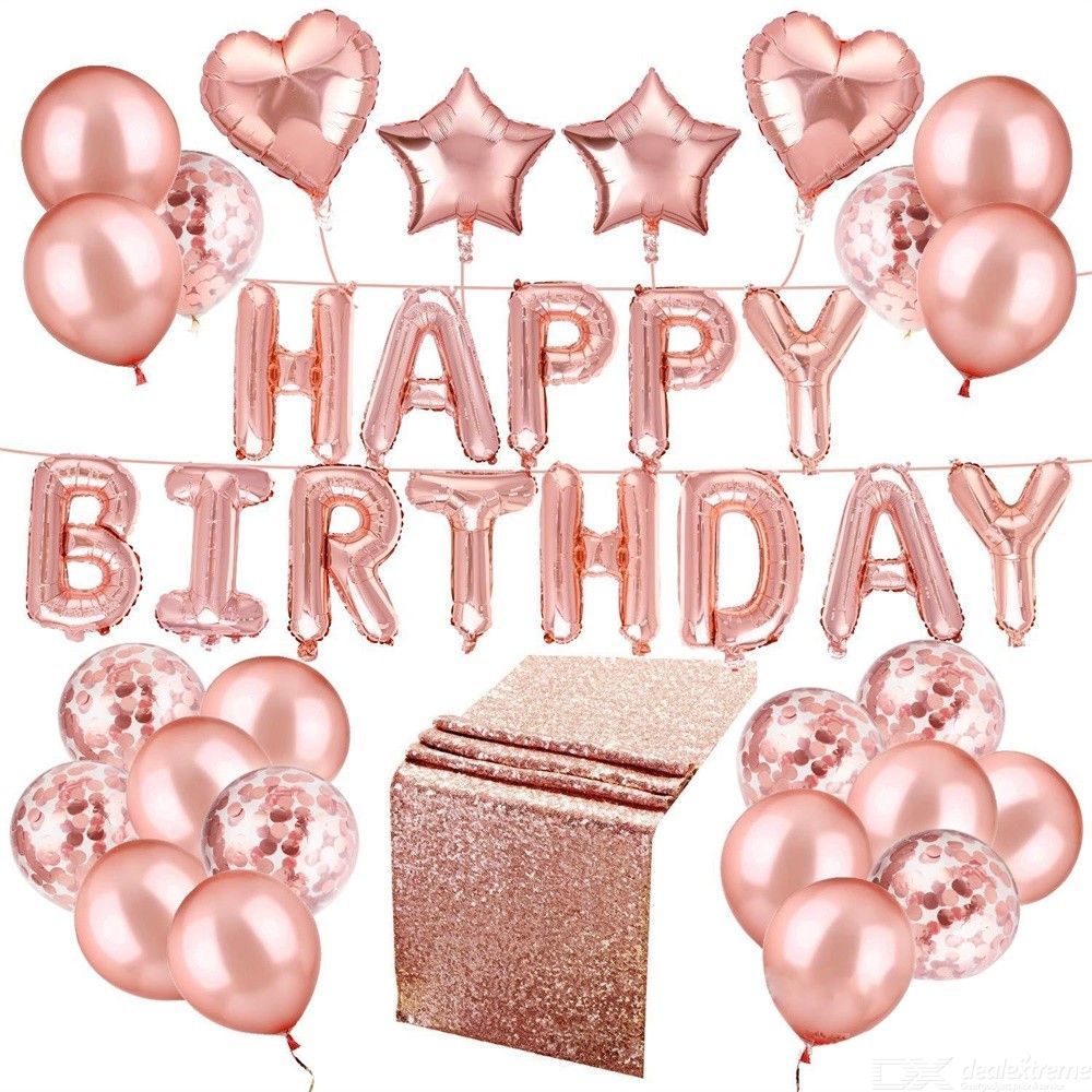 Decoration | Birthday | Balloon | Banner | Happy | Party | Rose | Gold | Set