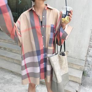 Womens Long Sleeve Multi-color Plaid Loose Shirts Jacket