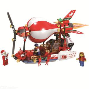 Building Blocks Christmas Theme Santa Claus Airship Educational Toys With 327 Blocks For Boys Girls 5 Years And Over
