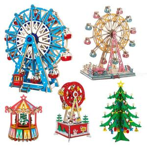 3D Jigsaw Puzzles Wooden Christmas Theme 3D Jigsaws Puzzle Toy For Kids Adults