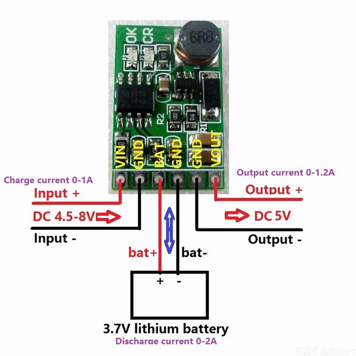 6W 5V UPS Mobile Power DIY Board Charger And Step Up DC Converter Module For 3.7V 18650 Lithium Battery