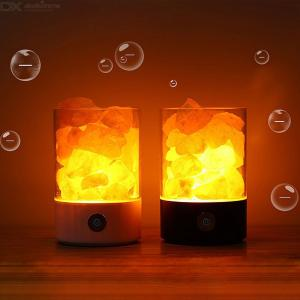 Himalayan Salt Lamp Dimmable Nature Pink Therapeutic Crystal Rock Night Lamp With USB Cable For Bedroom Office Yoga Room