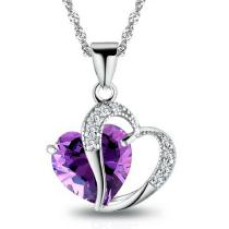 Creative Female Crystal Jewelry Fashion Pendant Necklace With Beautiful Heart Pattern For Women Ladies