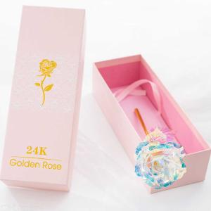 24K Gold Foil Rose Valentines Day Creative Present Gift Lasts Forever Love Wedding Decor Flower With Pink Box