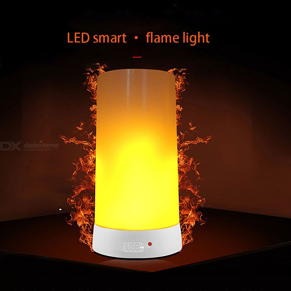 Dx coupon: LED Flame Effect Light USB Rechargeable Magnetic Candle Lamps For Home Christmas Restaurants Hotel Bar Cafe Party