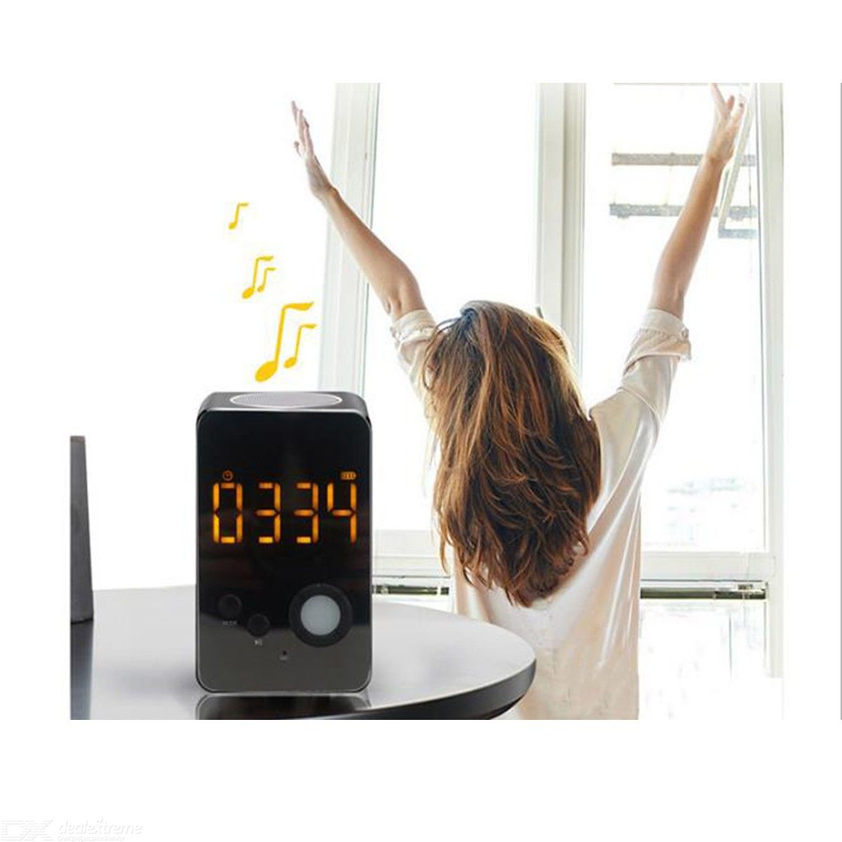 LED Alarm Clock Bluetooth 5.0 Speakers Portable Wireless Mini HiFi Speaker Bedside Lamp Night Light