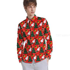 Mens Long Sleeve Floral Shirts Printed Christmas Trees Button Down T-shirts
