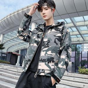Men Casual Loose Zipper Camouflage Hooded Jacket Windbreaker For Spring Autumn