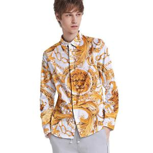 Mens Long Sleeve Retro Shirts Lion Printed Button Down Loose Fit T-shirts
