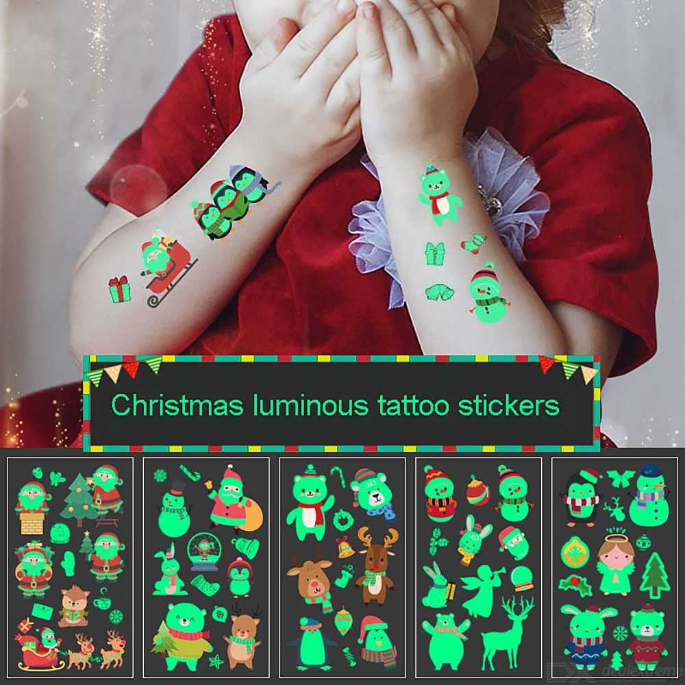Christmas Light Up Stickers For Kids Glow-in-the-Dark Party Decoration Tattoo