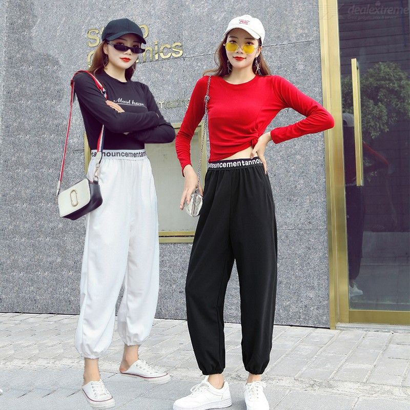 Lady Casual Linen Tapered Pants Loose Ankle Length Elastic Waist Harem Fashion