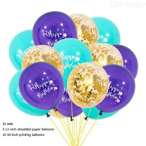 12-Inch 10-Inch 15Pcs Colorful HAPPY BIRTHDAY Letter Print Confetti Latex Balloons Set For Wedding Birthday Party Decoration