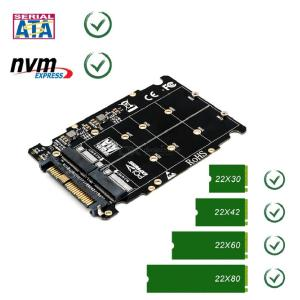 M.2 SSD To U.2 Adapter 2 In1 M.2 NVMe SATA-Bus NGFF SSD To PCI-e U.2 SFF-8639 Adapter PCIe M2 Converter For Desktop