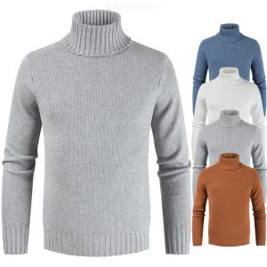 Male Slim High-necked Sweater Casual Solid Color Mens Turtleneck