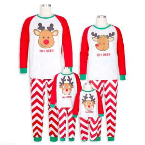 Matching Family Pajamas Christmas Deers Sleepwear Cotton Kids PJs Set