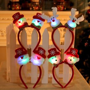 LED Lighted Luminous Christmas Headband, Snowman Santa Claus Hairband Headwear With Lights For Kids Adults