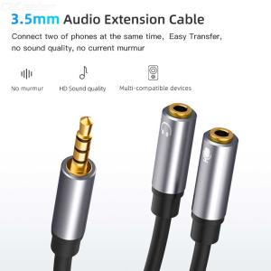 3.5mm Audio Stereo Y Splitter 3.5mm Male To 2 3.5mm Female Ports For Microphone Headphone