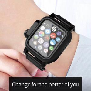 IP68 Waterproof Sport Strap Case For Apple Watch 1/2/3/4 Series 38/40/42/44mm, Full Protective Silicone Wrist Watchband Cover
