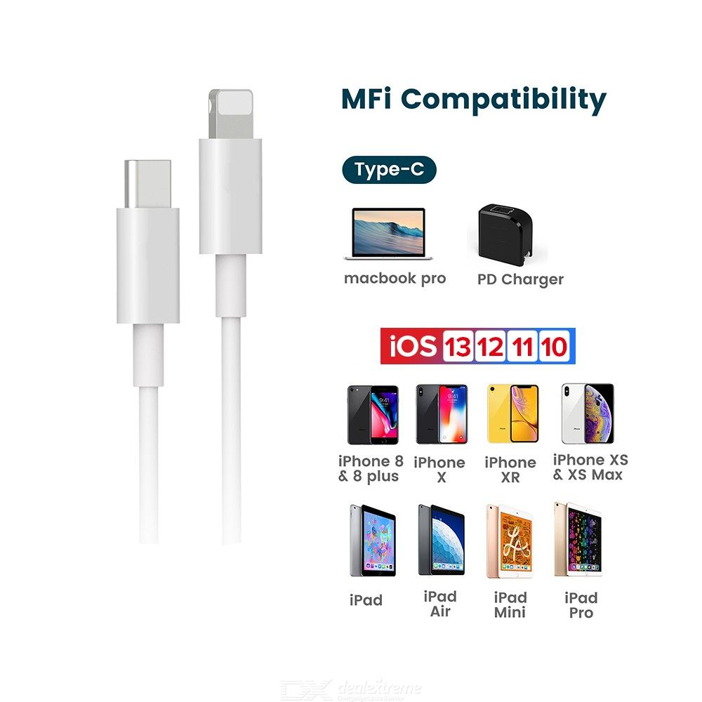 MFi Type-C to Lightning Charging Cable for iPhone 11 Pro X XS 8 XR, PD 18W Fast USB-C Charger Data Cable