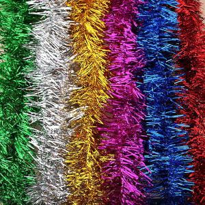 1.8m Christmas Coloful Tinsel Garland, Glitter Decorative Color Strip Ornaments Christmas Tree Ceiling Hanging Decorations