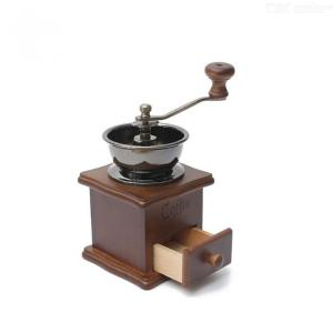 Classical Wooden Manual Coffee Grinder Stainless Steel Retro Coffee Spice Mini Burr Mill With Ceramic Millstone Brown