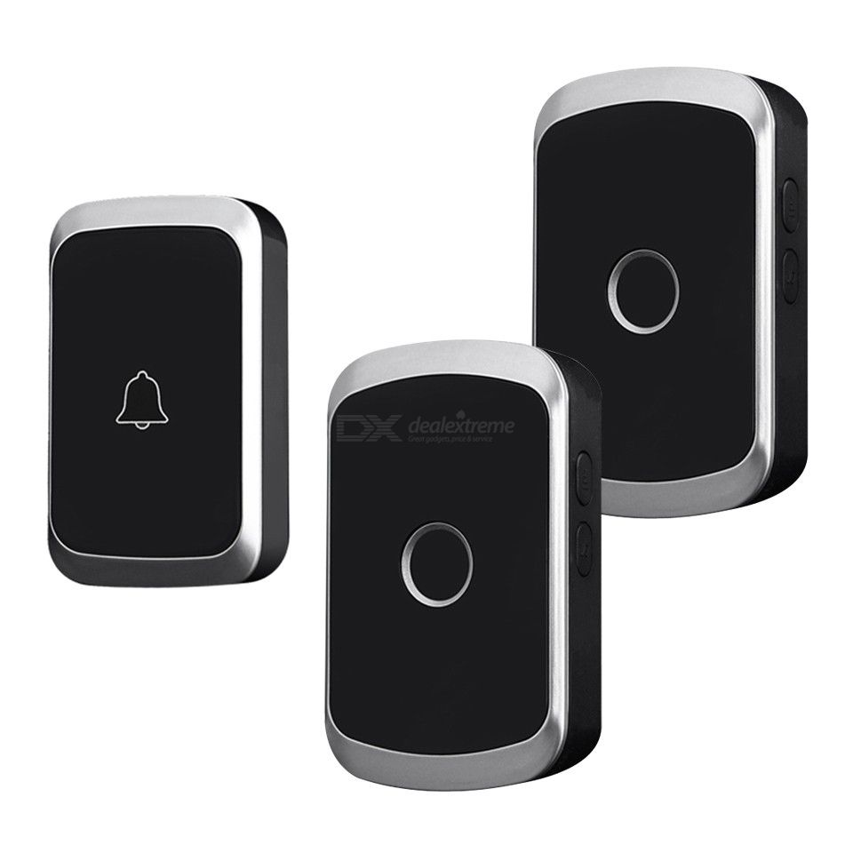 CACAZI Wireless Waterproof Doorbell 300M Remote LED Flash Home Cordless Door Bell Chime, 1 Button 2 Receivers