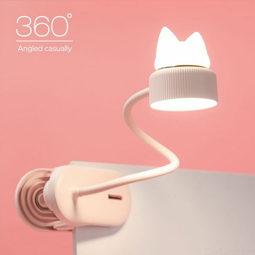 Flexible USB LED Reading Light Dimmable Clip-On Desk Lamp Cute Soft Silicone Cat Table Lamps Bedside Night Lights