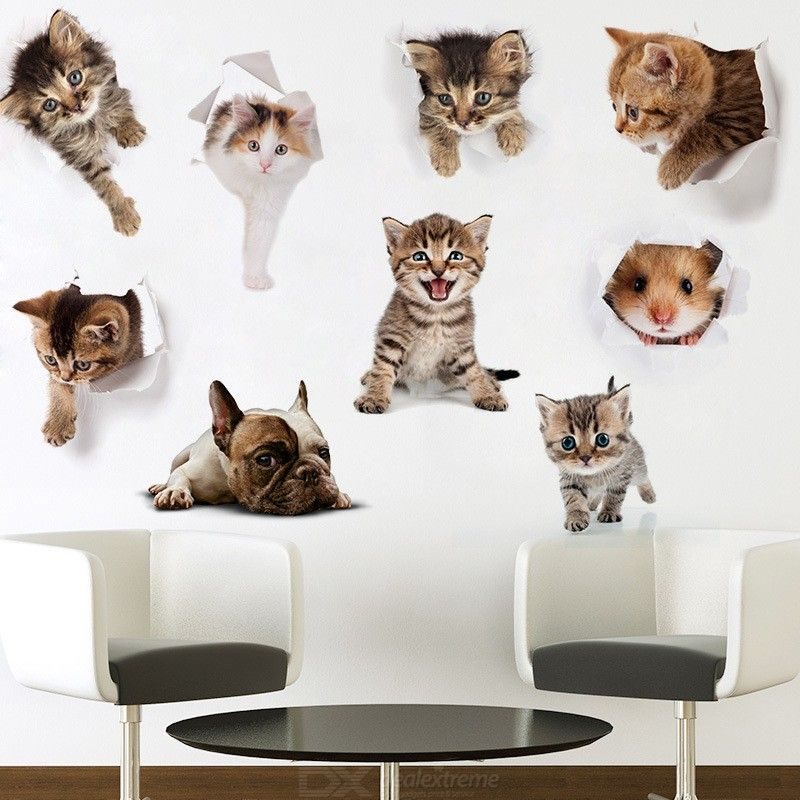 3D Lovely Cat Dog Hamster Wall Sticker Removable Animal Decal Home Decor PVC Toilet Stickers
