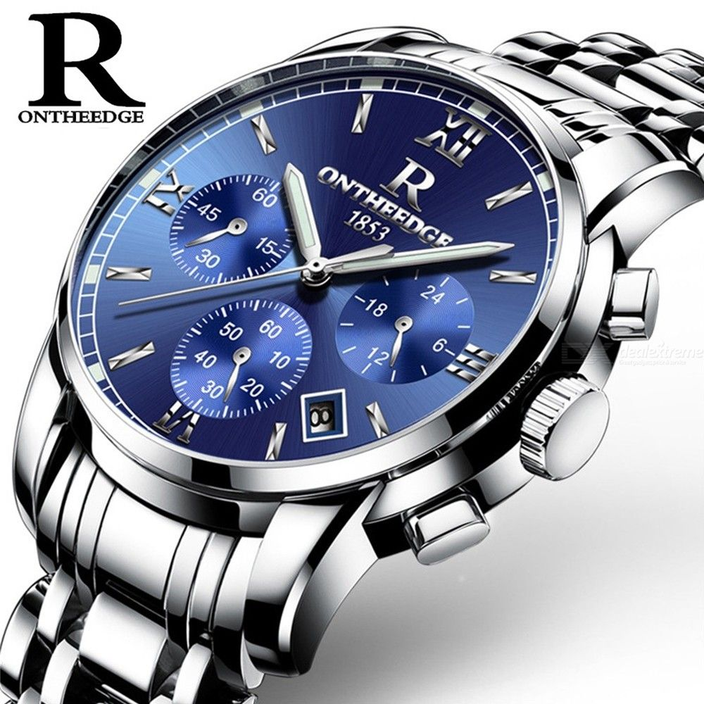 Premium Round Dial 6-Pin Luminous Quartz Watch With 3 Sub-Dials, Stainless Steel Band