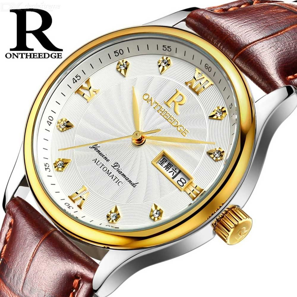 Ultra Thin Waterproof Round Dial Mens Quartz Watch With Leather Strap, Week Calendar Display