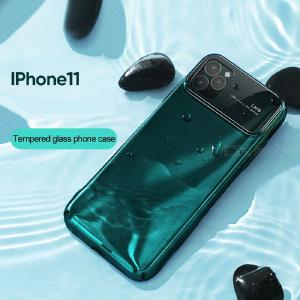 Tempered Glass + PC Phone Case Shock Absorption Protective Back Cover For IPhone 11 / 11 Pro / 11 Pro Max