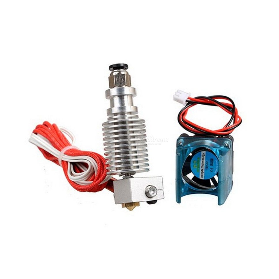 Dx coupon: 0.4mm V6 1.75mm Long / Short Distance Metal Extruder Nozzle With Cooling Fan Set For 3D Printer