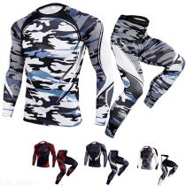 2-Piece Outdoor Sports Suit, Elastic Long Sleeve Men Running T-Shirt With Quick Dry Pants
