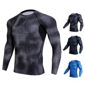 Quick Dry Compression Shirt Breathable Long Sleeve Running T-Shirts Fitness Training Tops For Men