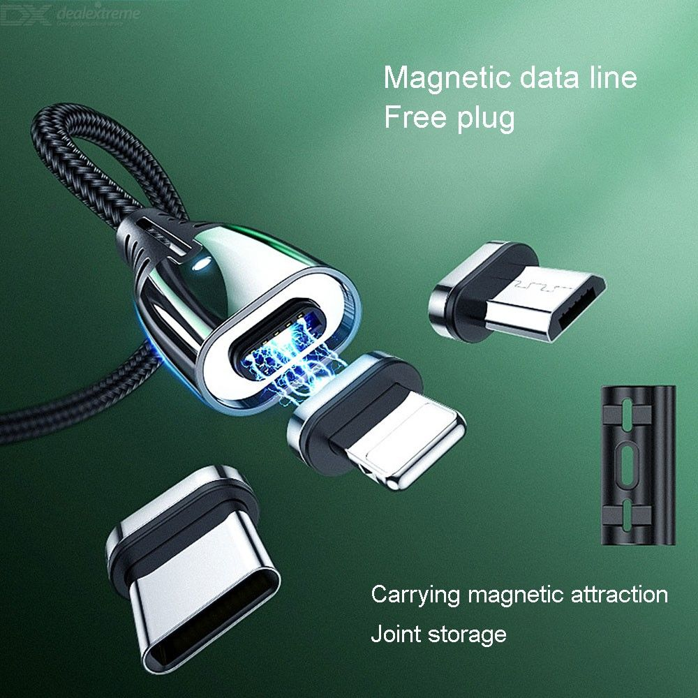 S-M408 3-in-1 Magnetic Charging Cable, USB To Micro USB Type-C Lightning Fast Charging Data Transfer Cord With LED Light