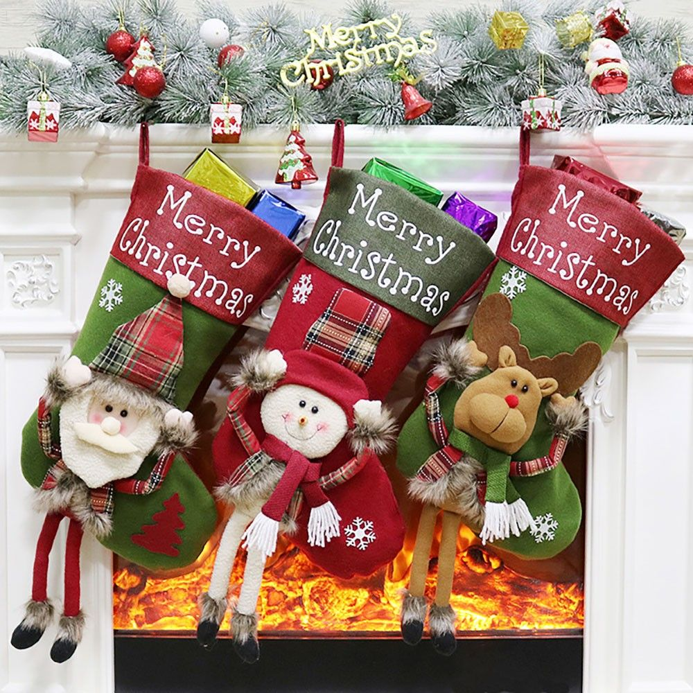 Christmas Stockings Santa Claus Elk Snowman Christmas Hanging Stockings Decorations
