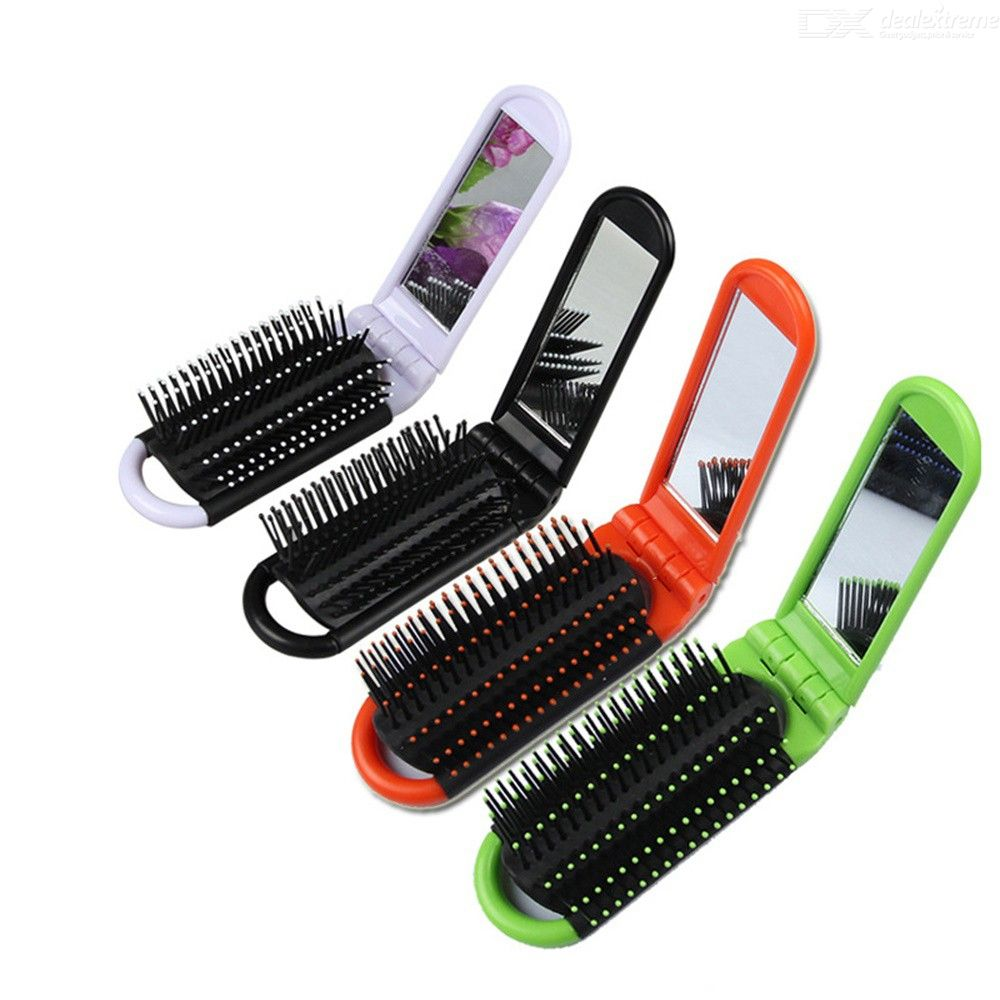 Portable Anti-static Folding Hair Brush With Mirror High Temperature Resistant Travel Comb