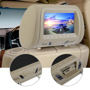 One Pair 7 Inch Car Headrest Monitor LED Digital Screen Pillow MP5 Player with USB and SD Function