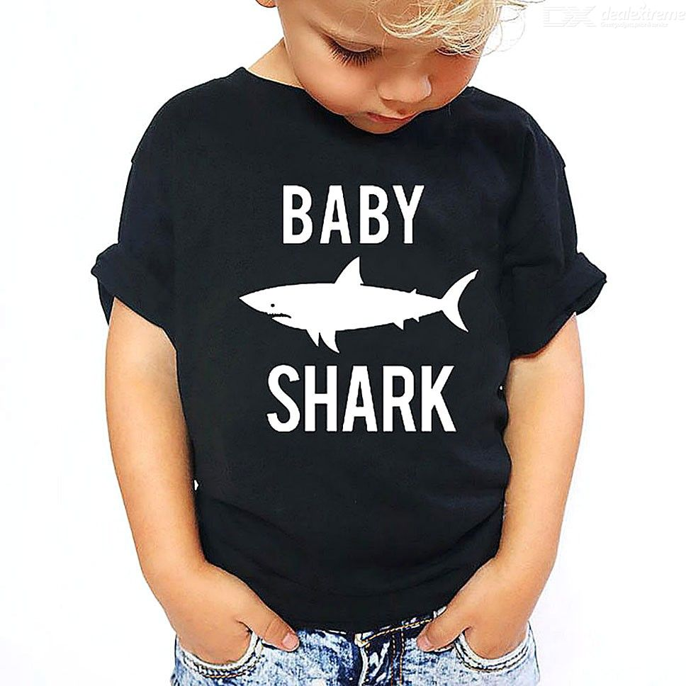 Fashion Parent-Child Clothing Shark Letter Print Pattern Short Sleeve T-Shirt Tee For Mom Dad Kids Baby