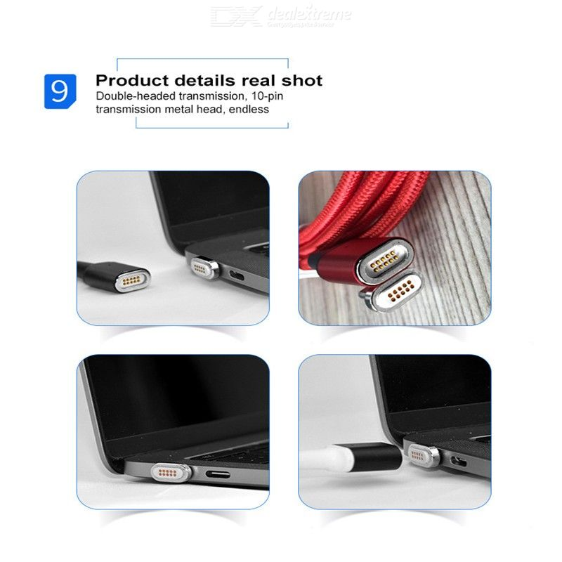 1.8M Magnetic Type-C PD Cable for Samsung Galaxy, 100W 5A Magnet Type-C to Type-C Charging Data Cable for MacBook Pro